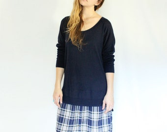 Upcycled Sweater Dress, Navy Plaid Long Sleeve Dress, Color Blocked Winter Dress, Warm Eco Conscious Clothing, Button Down Dress, Loose Fit