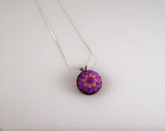 Purple & Pink Flower Button Necklace