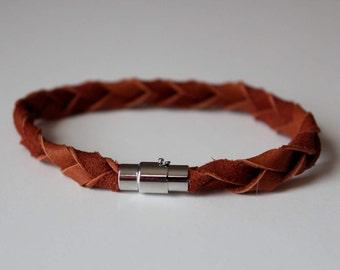 Braided brown leather friendship bracelet, brown leather wrap bracelet, leather jewelry, deerskin leather bracelet, woven bracelet