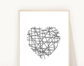 Abstract Art Print, Heart, Printable Art, Abstract heart, Geometric Heart, Instant Download, Wall Art, heart Print, Wall decor, Home Decor