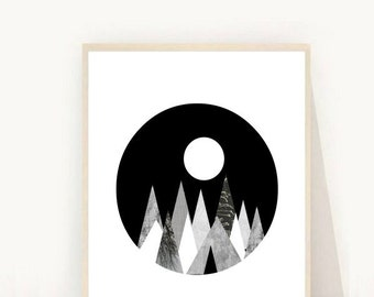 Mountain Print, Scandinavian Art Print, Geometric Print, Printable Art, Instant Download, Home Decor, Wall Decor, Wall Art, Wall Art Prints