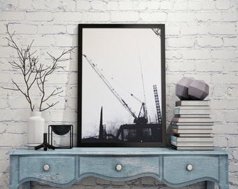 Urban Landscape Artwork. Industrial Artwork. Berlin Artwork. Architecture and Construction Themed. Medium Size Black and White Art
