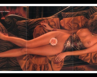 "Mature Playboy January 1987 : Playmate Centerfold Luann Laureen Lee Gatefold 3 Page Spread Photo Wall Art Decor 11"" x 23"""