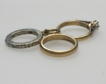 Trio of Rings - Engagement, Weddig and Eternity. 9ct Gold Charm