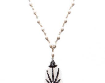 PALOMA NECKLACE * statement bone pave drop & ivory swarovski chain with gold filled