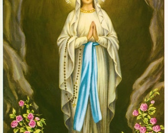 """Our Lady of Lourdes Blessed Virgin Mary Religious Art Print Picture - 7 1/2"""" x 10"""" ready to frame!"""