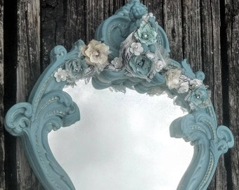 Ornate wall mirror, corset mirror, French vintage,  cherub wall decor, shabby chic Mirror, teal, turquoise, Paris bedroom,embellished mirror