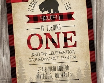 Lumberjack Party Invitation/Lumberjack Party/Lumberjack Invitation/Buffalo Plaid Invite/Red Plaid Invitation/Lumberjack 1st Birthday/#002