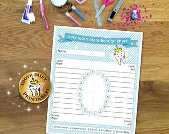 Tooth fairy lost tooth chart, Printable lost tooth chart, Printable tooth fairy chart for boys, tooth fairy download, Instant download.