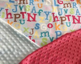 Personalized Minky Baby Blanket, ABC Alphabet Minky Baby Blanket