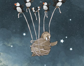 Puffin and Walrus - Catching Stars in the Night Sky Art Print