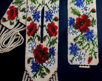 Ukraine Gerdan Ukrainian long necklace Bracelet flowers Ukrainian jewelry Ukrainian bracelet Beige necklace Bright necklace Flower Gerdan