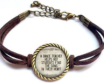 Dance Teacher Gift, Dance Recital Gift, Thank You Gift, Dance Quote, Dance Jewelry, Dance Teacher Bracelet