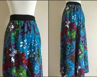 Vintage Bold John Abbott Maxi Skirt / Women's Size Medium / Bright Blue, Purple, Red, and Green Floral Pattern