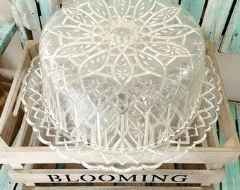 Vintage Cake Carrier Clear Domed Cake Saver Plastic Acrylic Diamond Cut