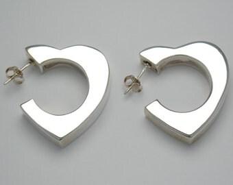 Heart earrings - vintage earrings - hoop earrings - original earrings - sterling silver earrings - eighties earrings