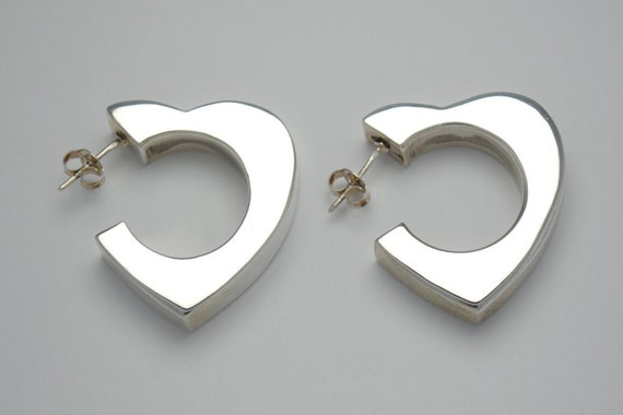 Boucles d'oreilles coeur en argent - vintage -