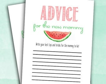 Watermelon Baby Shower Game - Advice for New Mommy - Summer Party - Instant Printable Digital Download Baby Shower Shower activities girl