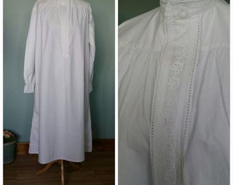 Victorian long nightgown nightdress white colour with broderie anglaise and long sleeved antique vintage Fits small to medium home made sewn