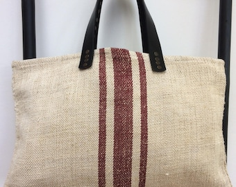 Vintage Linen Tote/Shopper Bag with 100% Leather Handles
