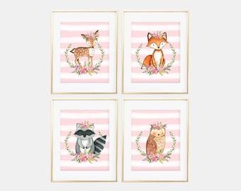 Woodland Nursery Art Prints, Baby Girl Nursery Prints, Set of four nursery prints, watercolor prints, baby girl, prints, baby shower gift
