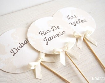 Travel Wedding Tableau Marriage_Travel wedding Markers_Wedding Table Number_Customizable_Hand Made in Italy