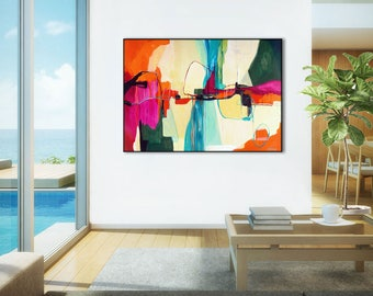 "Extra Large abstract painting, ABSTRACT ART large painting, wall art, large wall art PRINT, modern original abstract painting - ""Cool Life"""
