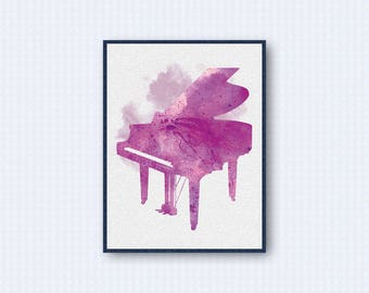 Piano Watercolor Poster