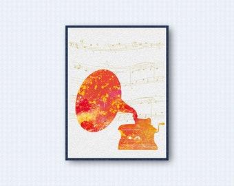 Gramophone Watercolor Poster