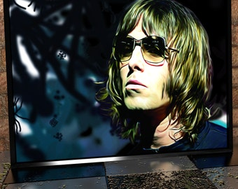 Liam Gallagher - Oasis - Beady Eye - Painting Digital Poster Print - Oasis Illustration - Liam Gallagher Poster