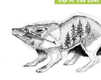 Mini-Print, No-Hunting, wolf, 12,6x17,9cm, fineliner, 300 g paper