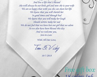 Gifts For Future Son-In-Law On Wedding Day-PRINTED HANKY-Gifts From Bride Parents -Free Gift Box/Code:HY1091
