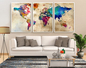 Extra large watercolor push pin map poster print world map world map large print travel world map wall art push pin map poster gumiabroncs Images