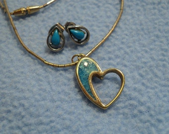 Turquoise & Gold Heart Necklace with Silvertone Turquoise Earrings