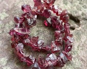Garnet chip beads, raw garnet, small nugget beads, natural gemstones, rustic, rough cut beads