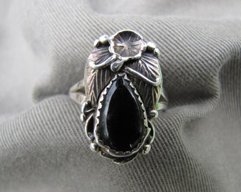 Sterling silver and onyx Native American ring