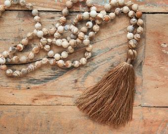 Long tassle necklace / Natural boho necklace / Jasper bead necklace / long brown tassel necklace / romantic necklace for her / gift for her
