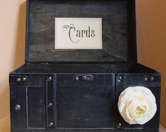 Wedding Trunk / Black Wedding Card Box / Rustic Wedding / Vintage Wedding / Wedding Card box / Wedding Card Holder