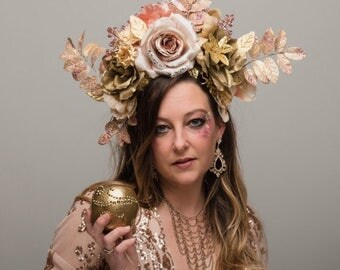 Aphrodite Rose Gold Flower Crown Huge Blush Golden Headdress Large Pink Glitter Carnival Greek Goddess Roman Venus Festival Headpiece