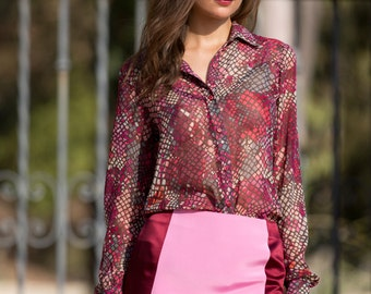 Colorblock Silk Mini Skirt in Red/Pink