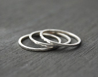 Silver Stacking Rings, Small Stacking Rings, Hammered Stacking Rings, Stacking Rings, Silver Rings, Simple Rings
