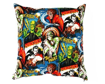 Horror Movie Cushion, Halloween Cushion, Horror Cushion, Movie Lover Gifts, Gifts for Geeks, Horror Decor, Geek Cushion, Man Cave Decor