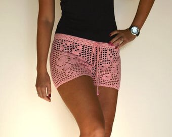 Pink shorts lace crochet shorts boho girl bikini crochet beach shorts summer shorts hippie shorts knit pink beach cover up boho shorts pink