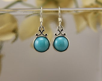 Amazonite sterling silver dangling scrollwork earrings - 10mm [E42AZ]