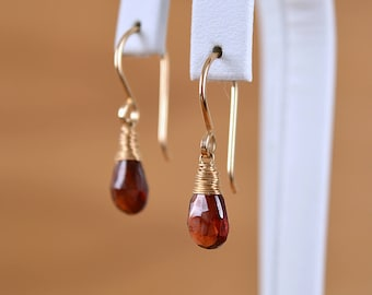 Mozambique Garnet Earrings, January Birthstone, Red Earrings, Drop Gemstone Earrings: 14K Gold Filled, Rose Gold, Oxidized, Sterling Silver
