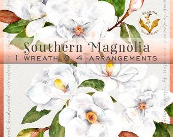 Watercolor flowers, magnolia clipart, clipart flowers, watercolor clipart, wedding clipart, white flowers, wedding wreath, floral wreath