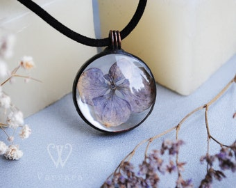For order! real purple flower necklace, real flower jewelry, hydrangea tiffany necklace, hydrangea pendant, gift for woman