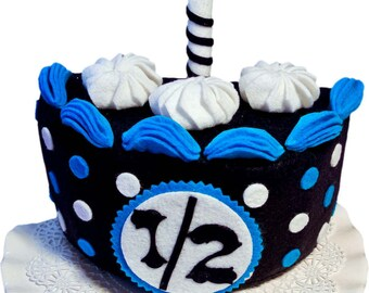 Half birthday Cake, navy/turquoise. Felt cake,Birthday photo prop,birthday cake topper, Half Birthday Boys, Photo prop boys, baby photo prop