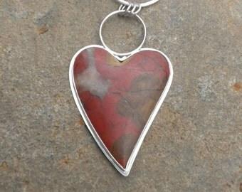Have a Big Heart - Morgan Hill Poppy Jasper Heart, Silver, Pendant, Heart Shaped, Red Stone, Pendant