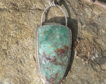 Large Beautiful Dragonstone Jasper, Pendant, Silver, Green, Maroon, Jasper, Dragonstone